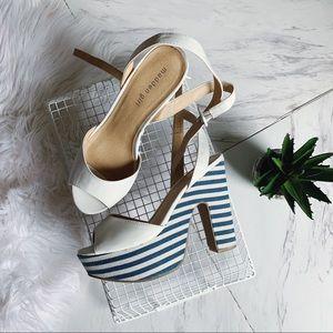 STEVE MADDEN striped chunky heels